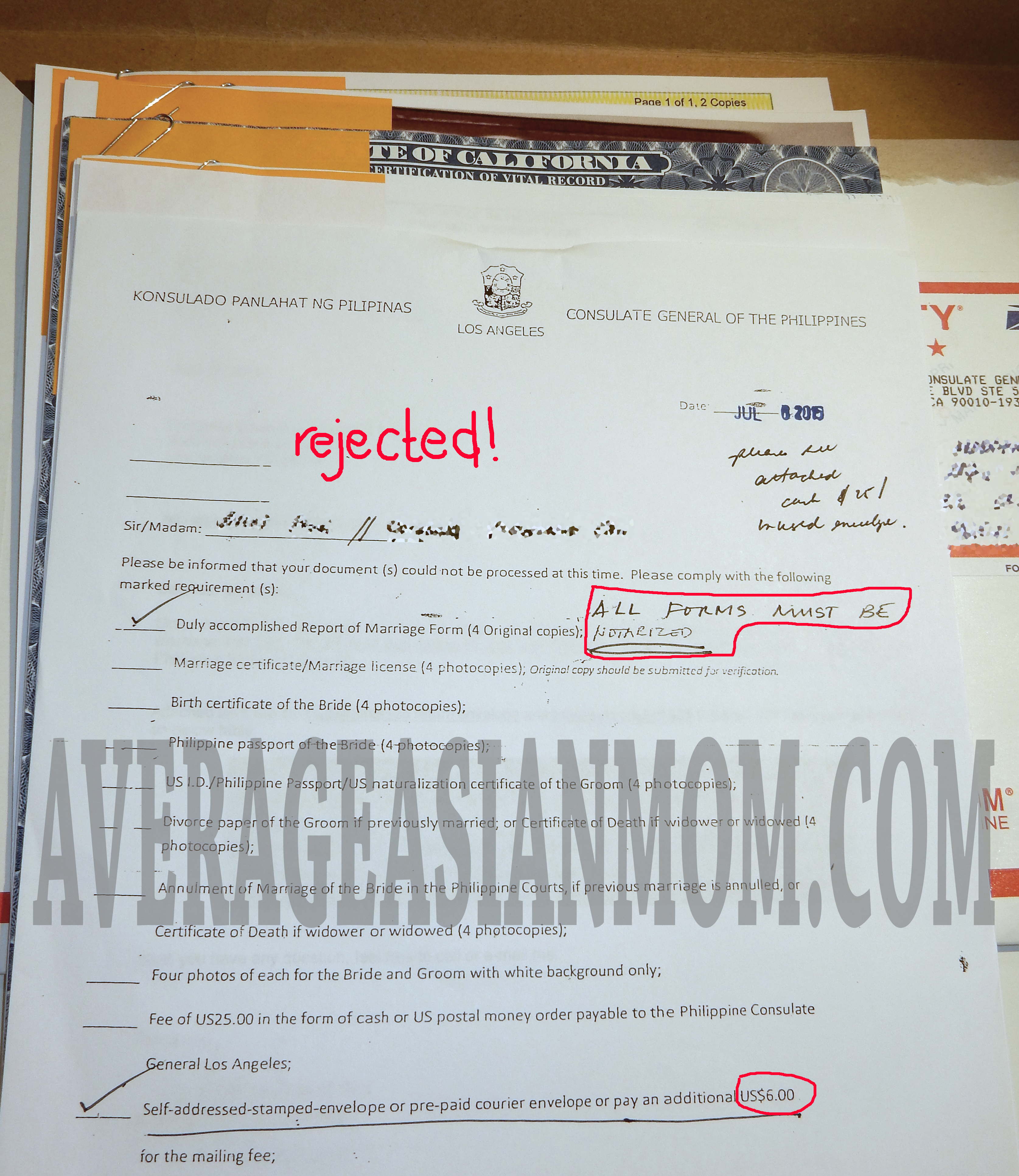 Report of Marriage to the Philippine Consulate – Part I (via mail) |