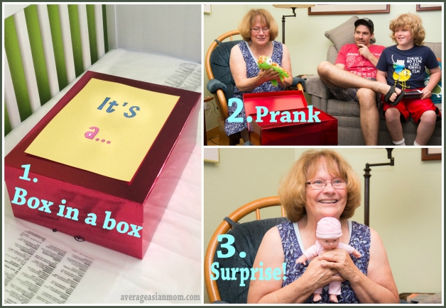 Gender reveal doll in a box in a box