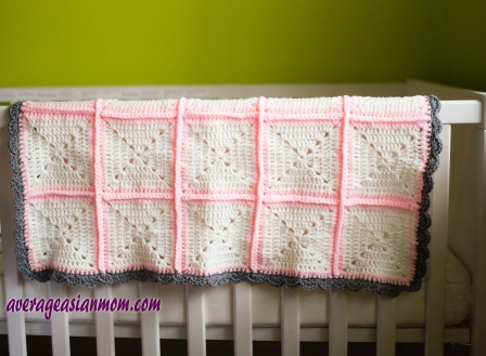 Solid Granny Square Baby Blanket