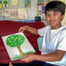 Raymond with his Lemon Tree Art